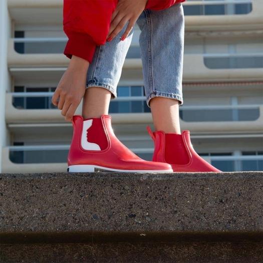 Womens low boots Méduse Japstyle Carmine/White